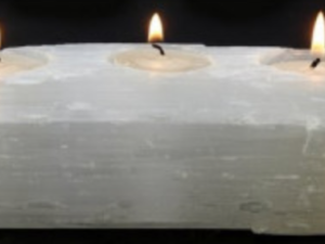 Selenite, porta velas triplo